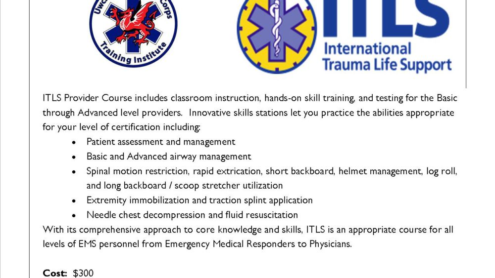 International Trauma Life Support Itls Uwchlan Ambulance Corps